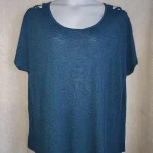 Turquoise top with lattice shoulder